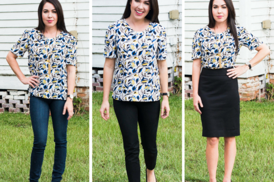 I love it when I find a versatile top that can work for business and fun.  I styled this silk top that I found in the Nordstrom Sale for $39