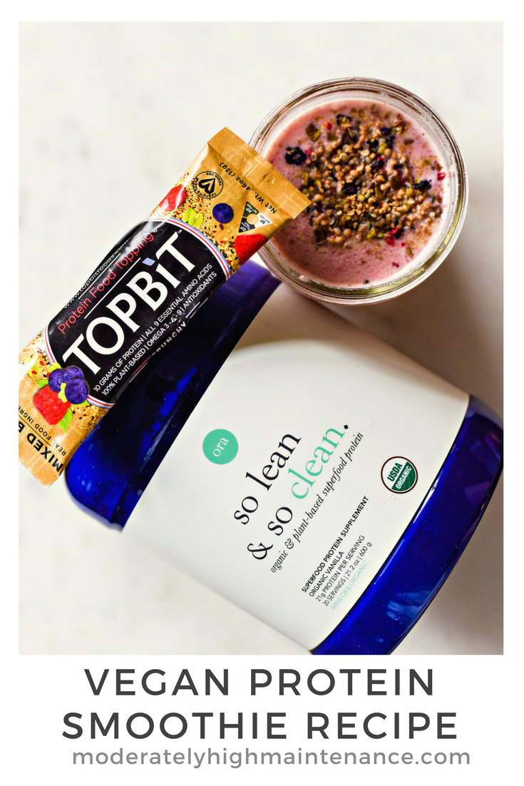 Let me preface this by saying that I am not a vegan.  HOWEVER, I do like to eat a primarily plant based diet and since I have a dairy allergy, vegan is always dairy free. After I workout in the morning I rarely want anything heavy. I love this vegan protein smoothie because I can prepare it quickly and drink it when I get to the office.